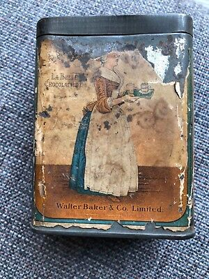 1900s Walter Baker Breakfast Cocoa Tin With Label & Embossed Lid