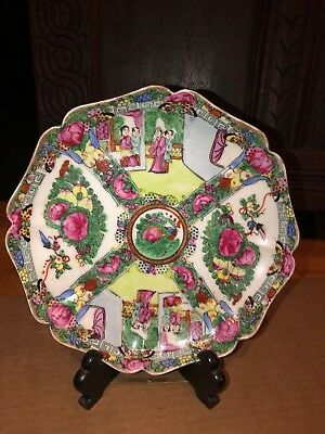 Vintage Chinese Rose Medallion Octagon Plate Bowl Dish
