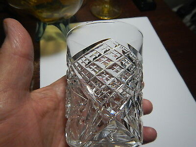 American Brilliant Cut Glass tumbler very heavy  pattern