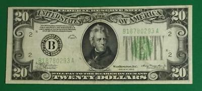 "1934 $20 Green Federal ""BIG B"" New YOrk Choice VF X293 Old US Paper Currency"
