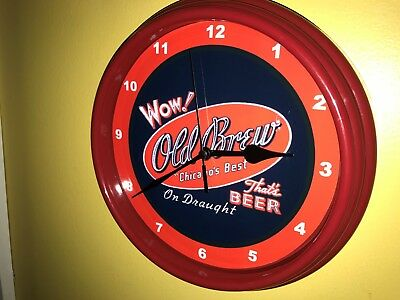 Old Brew Chicago Beer Bar Advertising Man Cave Red Wall Clock Sign
