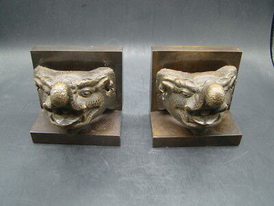Chinese Ming Dynasty (1368-1644) nice 1 pair bronze dragon's heads  t1975