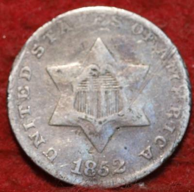 1852 Philadelphia Mint Silver Three Cent Coin