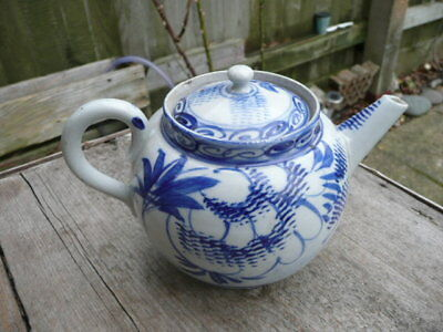 Antique  Chinese Blue Tea Pot. Hand Painted.