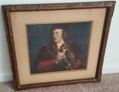 Antique 1880s Portrait of Robert Cheseman with Falcon Bird by Hans Holbein Print