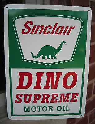 SINCLAIR GASOLINE DINO SUPREME MOTOR OIL SIGN GAS PUMP STATION  Free Shipping