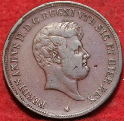 1853 Italy Naples & Sicilly 5 Tornesi Foreign Coin