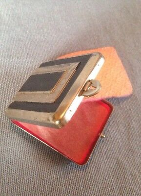 Vintage Rouge Compact Art Deco Coryell w Mirror unused powder Cake & Puff