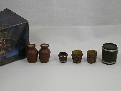 "Fontanini Depose 5"" Village Accessory Kit Wine Jugs Buckets Barrel Figures Box"