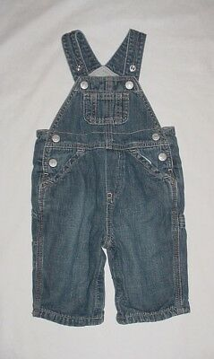 EUC Baby GAP Outlet Boys DENIM LOOKS Blue Jean Cargo Overalls 3-6 M