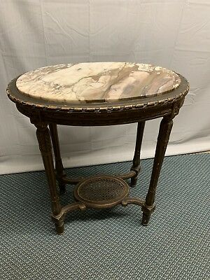 Antique Distressed French Country Oval Marble top Ornate side Lamp table