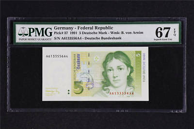 1991 Germany Federal Republic 5 Deutsche Mark Pick#37 PMG 67 EPQ Superb Gem UNC