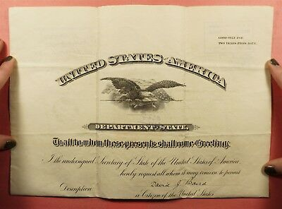 1900 Dept Of State Folded Assignm. Passport Us Consulate Constantinople Turkey