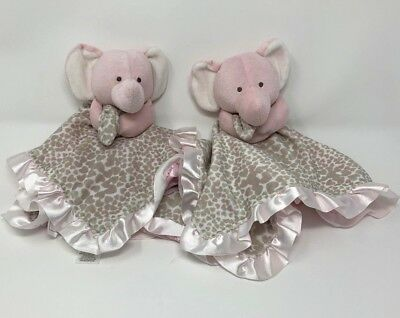 2 Carters Pink Grey Elephant baby Security Blanket s Rattle hearts leopard print