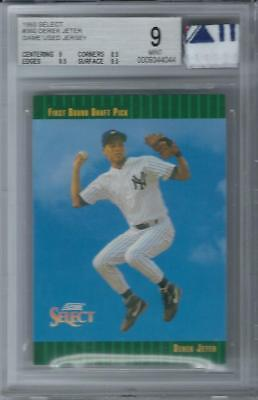 1993 Score Select Derek Jeter Rookie Card Bgs 9 With 3 Color Jersey Patch Tag