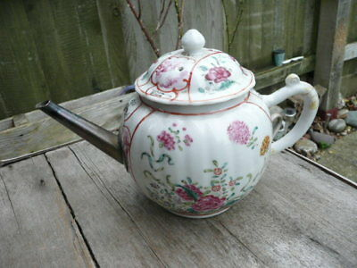 Antique  Chinese Tea Pot. Hand Painted.  Metal Spout Unusual !!