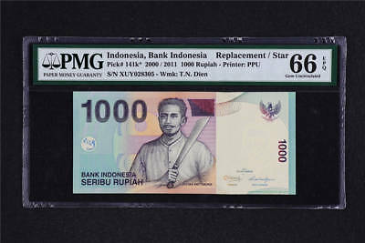 2000/2011 Indonesia Bank 1000 Rupiah Pick# 141k* PMG 66 EPQ Gem UNC Replacement