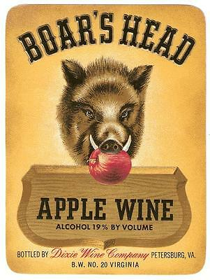 Vintage Boars Head Apple Wine Label From Dixie Wine Co.Petersburg,Virginia