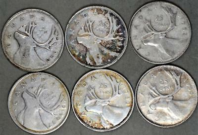 Canada 25 Cents Lot of 6 Silver Coins - King George VI