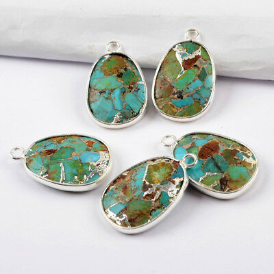 1Pcs Gold Silver Plated Blue Copper Natural Turquoise Pendant Charm Loop HG1632