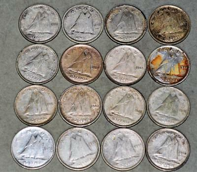 Canada 10 Cents Lot of 16 Silver Coins - King George VI