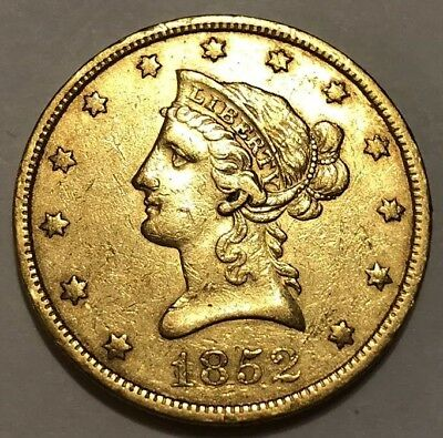1852 Liberty Head $10 Gold Eagle, Better Philadelphia Date, Pre-Civil War Coin