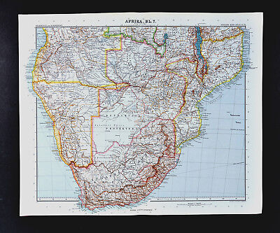 1911 Stieler Map South Africa Angola German West Africa Rhodesia Mozambique