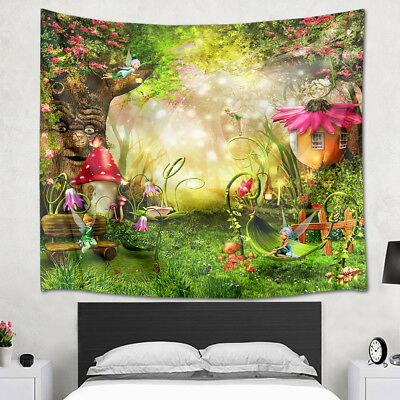 LB Fairytale Forest Flower Elf Old Tree Children's Room Wall Art Decor Tapestry