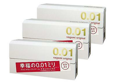 3  Boxs Sagami 001 0.01 Non Latex Condom 5 pcs Regular size Ultra Thin F/S Japan