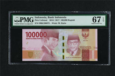 2016 / 2017 Indonesia Bank Indonesia 100000 Rupiah Pick Unlisted PMG 67 EPQ UNC