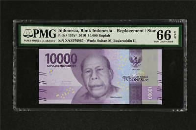 2016 Indonesia Bank Replacement 10000 Rupiah Pick# 157a* PMG 66 EPQ Gem UNC