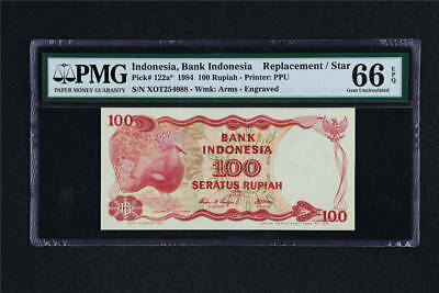 1984 Indonesia Bank 100 Rupiah Pick# 122a* PMG 66 EPQ Gem UNC Replacement
