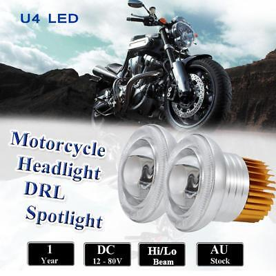 2 x 30W 12V-80V U4 LED Spotlight Motorcycle DRL Driving Fog Lamp Spot Head Light