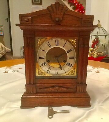 Vintage German 'hac' Striking Mantel Clock - Working With Key