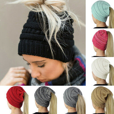 Unisex Knit Hat Slouchy Girl Ponytail Beanie Hole Winter Warm Stretch Women Soft