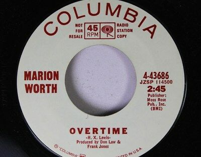 Country Promo Nm! 45 Marion Worth - Overtime / Don'T Count on Tomorrow on Columb