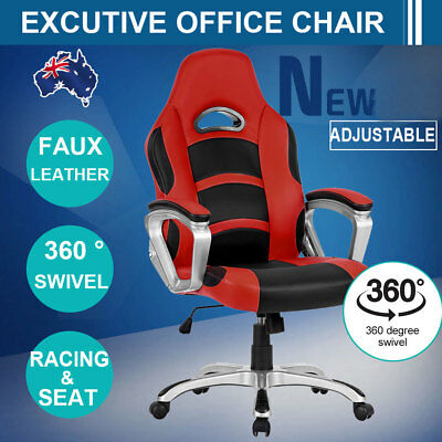 Gaming Racing Office Chair Sport Computer Seating Leather Executive Race Armrest