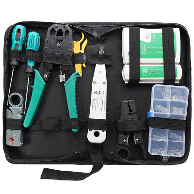 AUS 11 in 1 Lan Network Data Cable Wire Cord Tester Crimper Punch Down Tool Kit