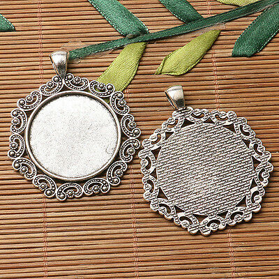 2pcs dark silver color floral rim round shaped cabochon setting in 30mm EF3157