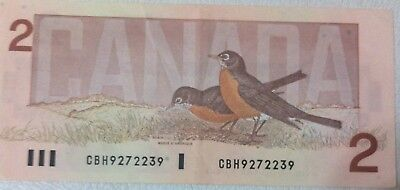 1986 CANADIAN TWO DOLLAR BANKNOTE  # CBH9272239  in very good condition