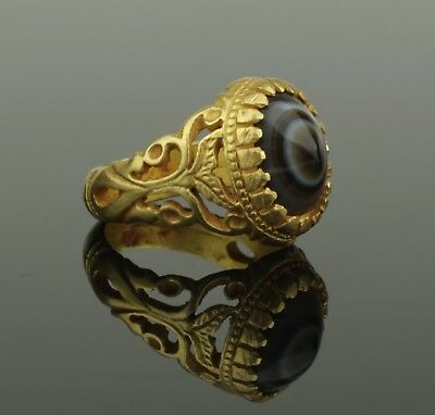 ANCIENT BYZANTINE GOLD & AGATE RING CIRCA - 9th Century AD   324