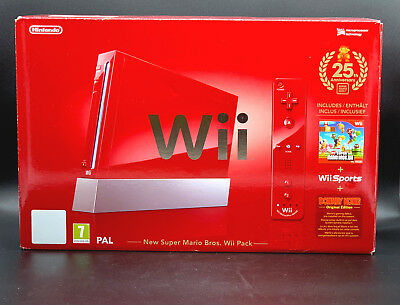 Nintendo Wii New Super Mario Bros Pack 512 MB Rot Spielekonsole (PAL) in OVP