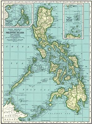 1945 Antique PHILIPPINES Map Vintage Map of the Philippine Islands Map #6243