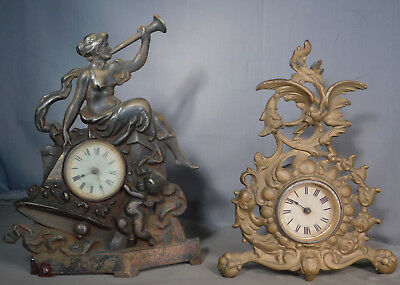 2 Antique cast Iron American Figural Clocks 100+ years  Eagle Nude Woman Trumpet