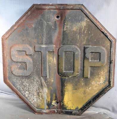 "Antique Yellow Black Rusty 18"" x 18"" EMBOSSED Heavy Steel Stop Sign BENT Early"