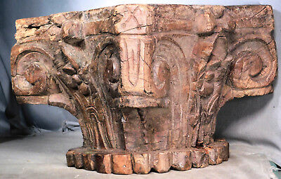 BIG Antique Hand Carved Corinthian Capital Architectural Fragment Weathered Wood