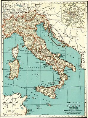 1935 Antique MAP of ITALY Original Vintage Italy Map Gallery Wall Art 6245