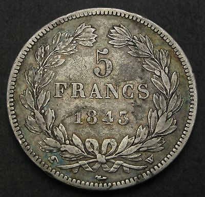 FRANCE 5 Francs 1843 W - Silver - Louis Philippe I. - F/VF - 1614