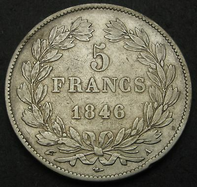 FRANCE 5 Francs 1846 A - Silver - Louis Philippe I. - VF- - 1618
