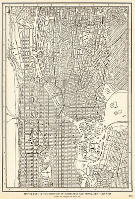 1907 Antique MANHATTAN Map The BRONX Map Vintage 1900s NEW YORK CITY Map 6251